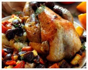 Recette Pintade rôtie aux légumes confits\n
